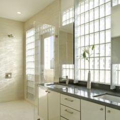 Glass blocks in bathroom