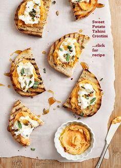"Sweet Potato Tahini Crostini.....APPETIZER RECIPES FOR YOUR NEXT PARTY!!.... one of the tapas recipes in my latest ""Wanderlust Food Diaries"" article, ""Baila Me"" (Dance with Me), In Granada, Spain...and a quick note on how to make healthy appetizers"
