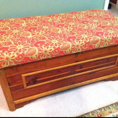 Did it!! Added a cushion cover to a cedar chest! Now. To paint the wood or not to paint!?