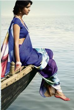 The Waters of Ganga - Digital Printed Georgette Sarees