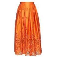 Rochas Broderie-anglaise structured midi skirt ($642) ❤ liked on Polyvore featuring skirts, knee length pleated skirt, mid calf skirts, midi skirt, orange skirt and orange pleated skirt