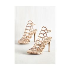 Divine and Contour Heel ($20) ❤ liked on Polyvore featuring shoes, pumps, cream, heels, other heel, peeptoe pumps, heel pump, cut-out shoes, geometric shoes and rhinestone heel pumps