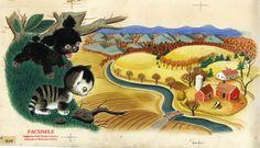 "An original illustration from ""The Shy Little Kitten"" by Gustaf Tenggren, 1946. (http://childrenslitumn.tumblr.com/post/41447372530/an-original-illustration-from-shy-little-kitten-by)"