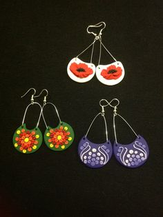 Handmade polymer clay and wire earrings