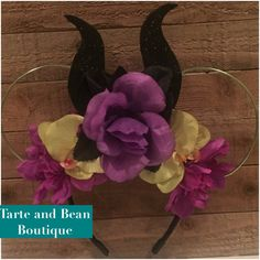 Ready to ship Maleficent Inspired wire Flower Mouse Ears horns Headband minnie