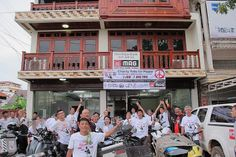 """Massive thanks to the 20 Indochina Roadtourer bikers who raised $897 for MAG through their """"Charity Ride for Peace"""". The bikers covered 2,100km from Sattahip in Thailand to Laos capital city Vientiane - and back - from June 2nd to 7th. The funds they raised will enable us to clear more land of unexploded cluster munitions - saving more lives in the most bombed country in the world per capita. Thanks from everyone at MAG for your efforts – and see you on the next ride!"""