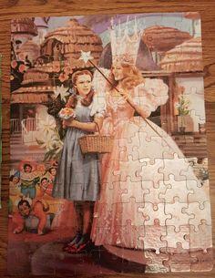 The Wizard of Oz Golden 100 pc Jigsaw Puzzle Dorothy Glinda Munchkins Toto 1988 #Golden #Puzzle #Wizardofoz