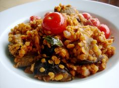 Eggplant, tomato and red lentil curry