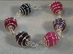 wire spiral caged bead bracelet
