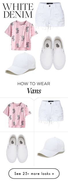 """White Denim"" by kristenlindelof on Polyvore featuring LE3NO, Vans and Sole Society"
