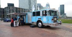 Un camion de pompiers américain pour présenter le détecteur de fumée « high tech…