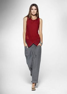 √√ √ Sarah Pacini - sleeveless, nipped-in waist, wrap top, loose linen trousers, flip-flops