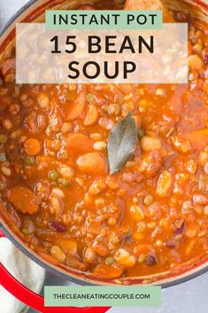 15 Bean Soup is a healthy vegetarian bean soup recipe everyone will love! Vegan, high protein, tasty Crockpot 15 Bean Soup, Bean Soup Recipes, Chicken Soup Recipes, Sausage Recipes, Lunch Recipes, Free Recipes, Healthy Vegetable Recipes, Healthy Crockpot Recipes, Healthy Meal Prep