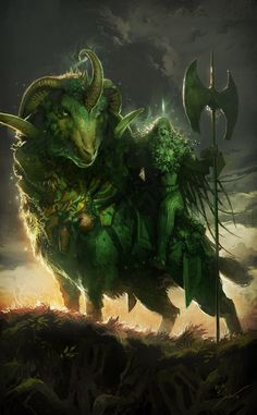 The Green Knight by Pierre Droal (from the legend of Sir Gawain and the Green Knight)
