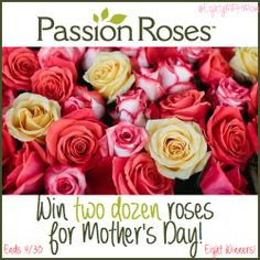 Flowers and Mother's Day go hand-in-hand. This year, celebrate with the official flowers of, both the Miss America Pageant and the Rose Bowl - PassionRoses. And, now, find out how you can win a beautiful bouquet of two dozen roses just in time for Mother's Day!  There will be EIGHT winners! Ends 4/30!  http://eightymphmom.com/2014/04/passion-roses-mothers-day.html