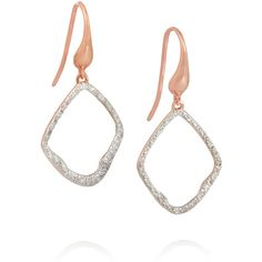 Monica Vinader Riva rose gold-plated diamond earrings ($505) ❤ liked on Polyvore featuring jewelry, earrings, gold, monica vinader, pave diamond earrings, rose gold plated jewelry, diamond jewellery and lightweight earrings