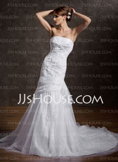 Mermaid Strapless Chapel Train Organza  Satin Wedding Dresses With Ruffle  Lace  Beadwork (002000598)  $225.00