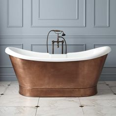 "69"" Rosalind Acrylic Hammered Copper Skirted Tub, Goldthwaite"