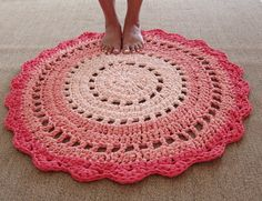Handmade Knitted Rug Round Doily Rug Crochet Floor by YellowByZoe Yarn Colors, Colours, Handmade Rugs, Handmade Gifts, Crochet Doily Rug, Knit Rug, Ribbon Yarn, Recycled T Shirts, T Shirt Yarn