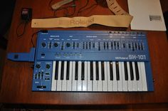 MATRIXSYNTH: Blue Roland SH-101 w/ Mod Grip & Leather Belt Stra...