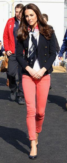 patterned blue white coral pink scarf, navy blue blazer, white shirt, coral pink orange pants, black heels