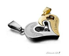 Partner Ketten Herz I LOVE YOU  Gold Silber mit Zirkonia...