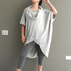 SALE 30 % Off Ladies Tunic,Top,Double Neck,Pale Grey - Unique Styling,Cotton Jersey,Thaisaket.. $25.99, via Etsy.