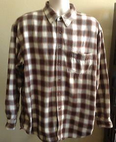 J.CREW Shirt Mens Plaid Cotton Flannel Brown & Cream L/S Size X LARGE Button Up