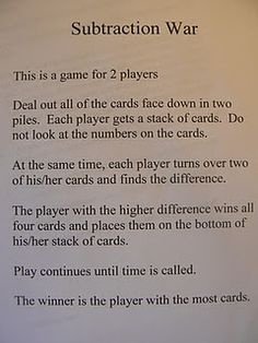 Subtraction War and other great math games. Would be great for extra time at the end or quick review