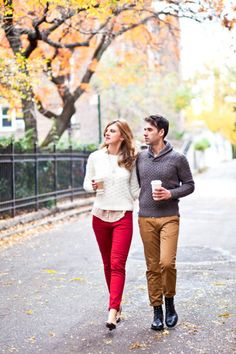 Brooklyn engagement shoot for a fall wedding. Like this idea, would totally replicate it! Love the coffee...and spiffy outfits.