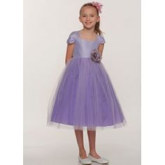 Bonnie - Aqua Dupioni Bodice with Tulle Girl Dress