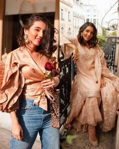 What does your wardrobe have more of, western or Indian looks? 💛 Engagement Dress For Female, Indian Engagement Dress, Engagement Dresses, Indian Look, Bridesmaid Outfit, Wedding Tips, Diva, Bollywood, Ruffle Blouse