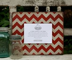 Rustic Red Chevron Photo Frame.