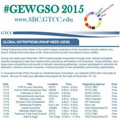 I am so excited about Global Entrepreneurship Week 2015! Here are a few of the offerings you can expect in the Triad! Register at www.SBC,GTCC.edu! FYI: If you want to hang out with me I'm teaching the 11.17 How to Write a Business Plan & 11.19 Websites Made Easy Classes and I will be at the Piedmont Triad Food Summit on 11.20! #LadyBizness approved