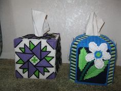 Plastic canvas tissue box covers