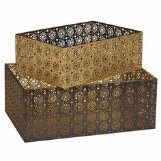 2 caisses de rangement en métal ajouré noir et doré