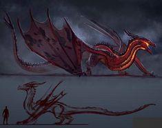 Creature Feature, Creature Design, Fantasy Creatures, Mythical Creatures, Tiamat Dragon, Humanoid Dragon, Fire Dragon, Dragon Wing, Dragon Silhouette