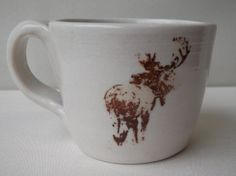 Miscievious Moose Mug, White Mug with Handle