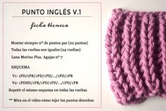 Ficha tecnica para tejer Punto Inglés versión 1 Yes, Knit Crochet, Stitch, Pearls, Knitting, Blog, How To Make, Crafts, Accessories