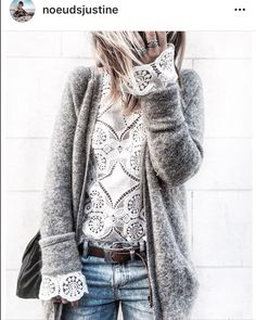 Stylemix: Laces and knit cardigan