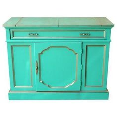 Check out this item at One Kings Lane! Turquoise & Gold Bar Cart