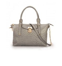 2015 Shopping Cheap Michael Kors Hamilton Slouchy Ostrich Large Grey Satchels Outlet.