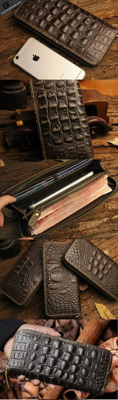 Handmade long leather wallet crocodile style leather clutch wallet for
