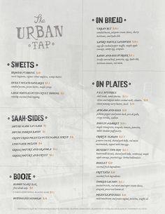 The Urban Tap - Menu Design