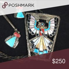 Amazing Thunderbird bolo tie! Vintage 925 sterling silver with turquoise, coral, onyx and mother of pearl! Excellent detail and craftsmanship. Great condition. Signed LE Zuni. Native American Accessories Jewelry
