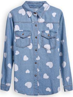 Light Blue Lapel Long Sleeve Hearts Print Denim Blouse - Sheinside.com