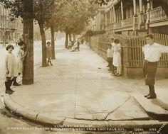Vermont Street Sewers, North sidewalk of Dumont Avenue, looking West from Sheffield Avenue, Brooklyn,July 5, 1923. Edward E. Rutter