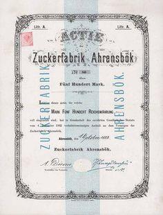 Zuckerfabrik Ahrensbök / Actie Lit. A 500 Mark 1.10.1883. Gründeraktie.