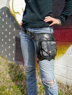 Black with Antique Brass OR Silver hardware Steampunk Leather Holster Bag Utility Belt Bag