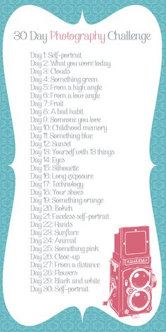 as much as i HATED doing my 365 challenge for 2011 i do in a way miss it! i shall be doing this 30 day photo challenge starting may ^_^ Photography Challenge, Photography Projects, Love Photography, Photography Tutorials, Inspiring Photography, Photography Lessons, Digital Photography, Cool Photography Ideas, Landscape Photography